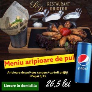 Aripioare de pui + sos rangers + cartofi prajiti + Pepsi 0,33